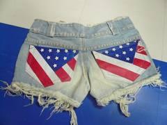 アメリカ星条旗ポケットデニムショートパンツ 国旗