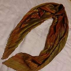 ブラウン系プリーツスカーフ*新品未使用