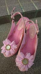 ウェッジソール 厚底 ピンク 花