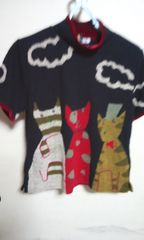 新品 猫ちゃん柄の可愛い半袖セーターML