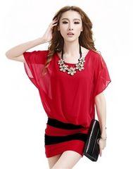 新品☆XXL大きいサイズ キャバワンピドレス 赤 ネックレス付き