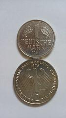 ドイツ硬貨、1マルク、2マルクの2枚。