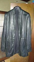 ☆シェラック超セクシーシワ加工高級シープレザー袖口切換ロングジャケット46レア美品☆