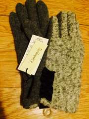 送料込★新品★カシミア グレーツイードフリル付き手袋