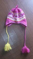 ☆ボンボン付き ピンクのニット帽☆美品