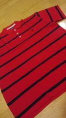 elementカノコボーダー ポロシャツ 赤紺 ロゴ刺繍 3XLXXXL→4XL位 �J