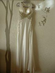 XS ロングドレス Lipline ホワイト サテン 刺繍 新品 J16329