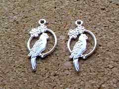 鳥チャーム花リング2個シルバー