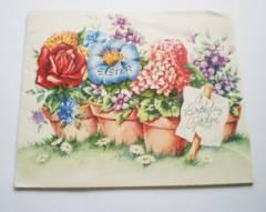 仕掛けあり★アメリカヴィンテージ カード/鉢の中のカラフルなお花 GR#20