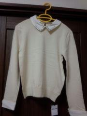 ☆未使用、新品♪INGNI 装飾衿付ニット オフホワイト☆