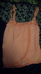 リズリサ デザイン キャミソールオレンジピンクフリーサイズ。難