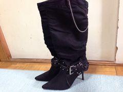 新品未使用ブラックロングブーツ黒色LLサイズベルトチェーン