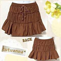 【tutuanna*】ブラウンティアードヒラミニスカート