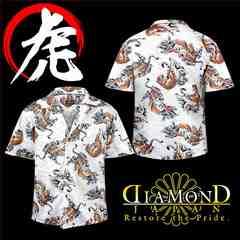 送料無料和柄虎総柄アロハシャツ/オラオラ系ヤクザチンピラヤンキー半袖服29白-5L