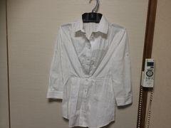 ナラカミーチェ☆透かしチェック柄七分袖シャツ