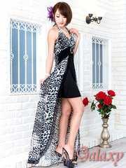 1159★Lサイズ★レオパード×ウォール柄MIXレーストリミングショートinロングドレス