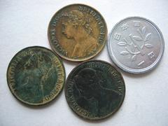 ◆ 英国 1861年 1866年 1884年銅貨 女王ビクトリア◇3枚/E2