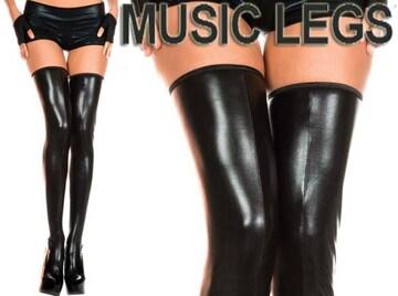 モバオク:ウェットティッシュ A193)MusicLegsウェットルックサイハイタイツ黒ボンテージ女王様ダンス衣装ダンサーB系