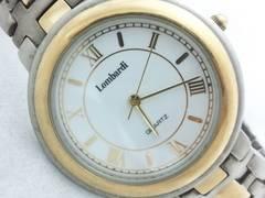 2612復活祭★Lombardi☆高級感漂うコンビメンズ腕時計ホワイトダイヤル