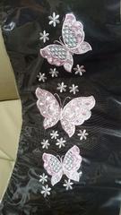 新品、振袖に最適!豪華刺繍柄の半衿、蝶、黒