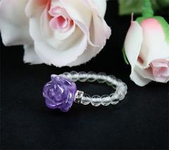 薔薇彫りアメジスト&水晶Ring☆希少♪送込