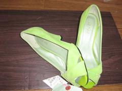 OFUON・黄緑パンプスM*B55送料¥400@