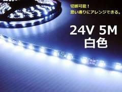 5M SMDLEDテープライト 白 黒ベース 防水ホワイト/トラック24V用
