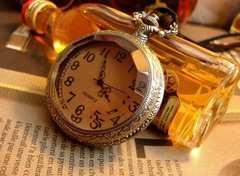 【1869】スモークカラーの蓋がレトロ★復古風懐中時計ネックレス