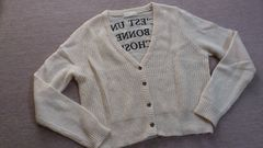 ジーナシスJEANASIS△バックロゴ刺繍/丈短めカーデ△F、クリーム系、数回着用