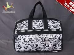 レスポートサック ボストンバッグ 美品 白×黒 レスポナイロン