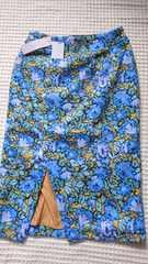 新品Lilidiaブルー花柄ベロアデザインペンシルスカート1¥12750