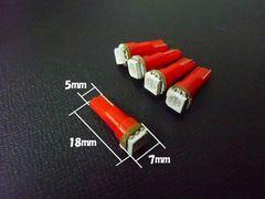 24V T5/T6.5 LED パネル球 メーター球 赤 5個/トラック