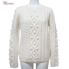 新品レッドヴァレンチノRED VALENTINOケーブル編みセーター白#S