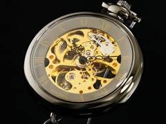 BROWN 懐中時計 両面スケルトン 925-GM-GD
