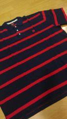 elementカノコボーダーポロシャツ 紺赤 ロゴ刺繍 サイズ3XL→4XL位 �M