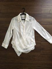 ホワイトビジュー襟カシュクールシャツ