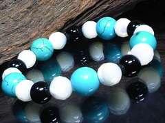 ターコイズ10ミリ§マザーオブパール§オニキス数珠