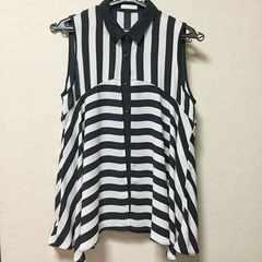 【used】レイヤード ノースリーブシャツ/GU/黒×白/ストライプ