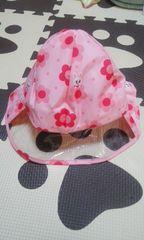 新品MIKI HOUSEピンク花柄レインハットMサイズ50cm〜52cm
