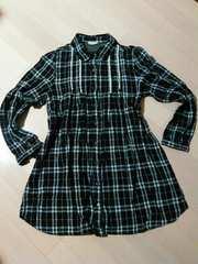 大きめL/黒×白チェックロング長袖シャツ/柔らか手触り綿100%生地