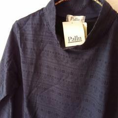 新品♪ハイネック長袖カットソー♪ネイビー♪織り模様♪Lサイズ♪美品♪秋冬