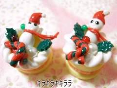 クリスマスケーキ<樹脂粘土>ミニ.雪ダルマver2個セット