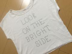 ViS/フロントシフォン英字Tシャツ WH/Mサイズ