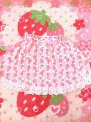メゾピアノ☆いちご柄☆姫系スカート☆白ピンク☆120