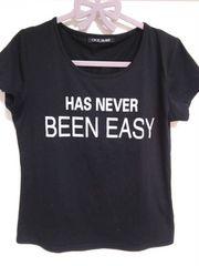 未使用★CECILMcBEE黒地×白文字ロゴラウンドネックTシャツ*ブラック