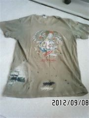定形外込*エドハーディー*ロゴ&タトゥプリントダメージTシャツ