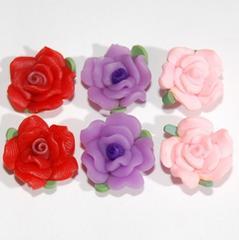 ★デコパーツ★15ミリ樹脂粘土薔薇★フラワー★3色6個