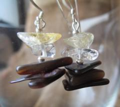 Silver925フックピアス 貝、天然石(シトリン、水晶)