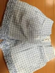 pom ponette☆水色チェックハーフパンツ☆キュロット
