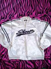 Shoop†ホワイトサテン×デカロゴ刺繍スタジャン*B系ローギャルウェッサイ